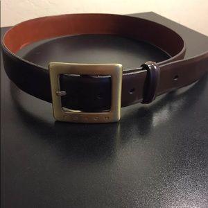 Coach dark brown leather belt size petite women's